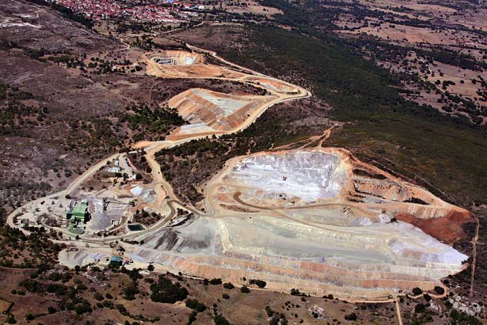 View of the open pit at Almonty Industries' Los Santos tungsten mine 50 km from Salamanca in western Spain. Credit: Almonty Industries