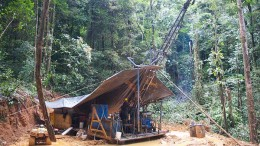 Drilling at Goldsource Mines' Eagle Mountain project in Guyana in 2011. Credit: Goldsource Mines