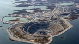 An aerial view of the Diavik diamond mine in the Lac de Gras region of the Northwest Territories. Credit:  Dominion Diamond