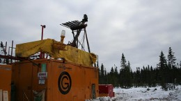 A drill rig at Integra Gold's Lamaque South gold project in Quebec. Credit: Integra Gold