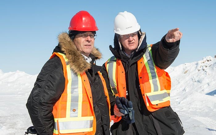 Patrick Evans (left), Mountain Province Diamonds president and CEO, and Allan Rodel, De Beers project manager, at the Gahcho Ku diamond project in the Northwest Territories. Credit: Mountain Province Diamonds