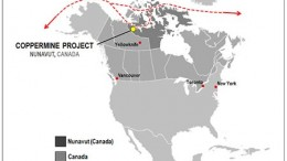 A map showing the location of Kaizen Discovery's Coppermine copper project in Nunavut. Source: Kaizen Discovery