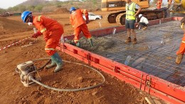 Workers pour the first concrete at Roxgold's Yaramoko gold project in Burkina Faso. Source: Roxgold