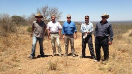 Peregine Diamonds and Diamexstrat Botswana personnel in the field in Botswana, from left: Mike Shaw, Gerard de La Valle Poussin, Tom Peregoodoff, Herman Grtter and Barry Bayly.  Photo by Andr Fourie.