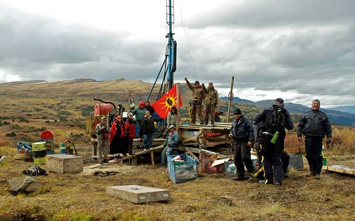 Elders, warriors and escorts representing the Tahltan Nation occupy a drill site in September 2013 at Fortune Minerals' Arctos coal project in northwest British Columbia. Photo by Tamo Campos.