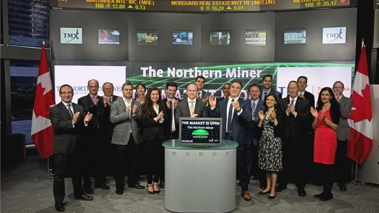 The Northern Miner's sales and editorial team opening the Toronto Stock Exchange on May 7. Credit: TMX Group.