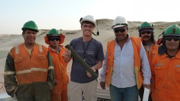 Focus Ventures president David Cass (third from left) with a drilling crew at the Bayovar 12 phosphate project in northern Peru. Credit: Focus Ventures