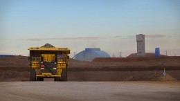 A mining truck at the Oyu Tolgoi project, 550 km due south of Ulaanbaatar, Mongolia.