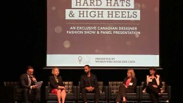 The Northern Miner's publisher Anthony Vaccaro (far left) moderates a panel  at the Hard Hats & High Heels fashion show. Panelists (from left to  right) included Holt Renfrew's vice president of exclusive services Lisa Tant, Fashion Magazine's contributing fashion editor George Antonopoulos,   Kinross Gold's senior vice president of human resources Gina Jardine, and one of PwC Canada's partners Marelize Konig. Source: Women Who Rock