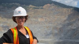 The author Lesley Stokes at Newmont Mining's Batu Hijau mine in Indonesia. Credit: Lesley Stokes