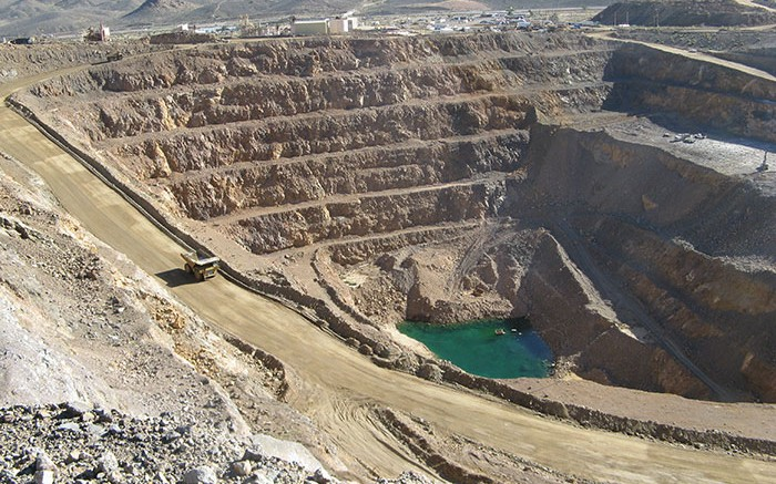 Molycorp's Mountain Pass rare earth element mine, as seen in 2011. Mountain Pass is located on the south flank of the Clark Mountain Range in southeastern California. Photo by Trish Saywell