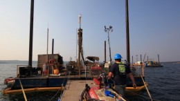 Drillers on a barge at Fission Uranium's Patterson Lake South uranium project in northern Saskatchewan. Credit: Fission Uranium