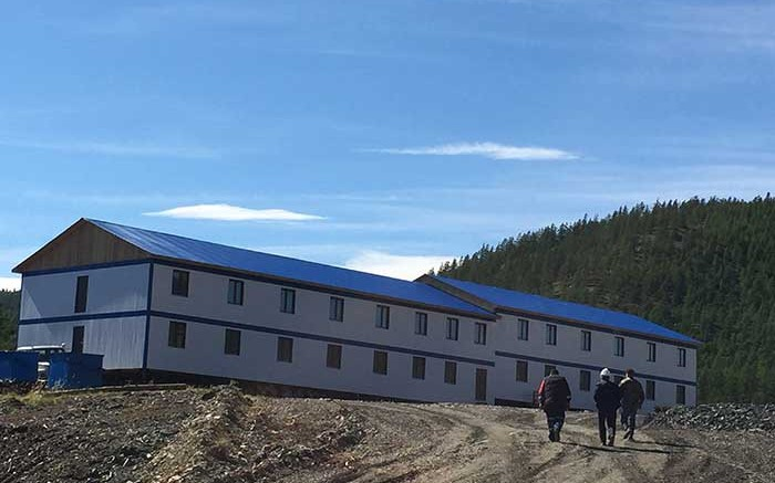 Workers outside a dormitory at Silver Bear Resources' Mangazeisky silver property in Russia's Far East, 400 km north of Yakutsk. Credit: Silver Bear Resources.