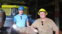 Scott Broughton (left), Roca Mines president and CEO, and John Gardiner, Taranis Resources president and CEO, tour the Max mill facility, 60 km southeast of Revelstoke, British Columbia. Photo by Lesley Stokes