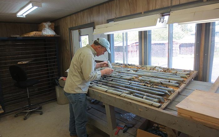 Peter Harvey, senior project geologist, examines core samples at Temex Resources and Goldcorp's Whitney gold project in Ontario.  Source: Temex Resources