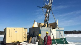Christina Taylor (left), project geologist, and Max Porterfield, Callinex Mines' CEO, at a drill site in March 2015 at the Pine Bay copper project in Manitoba. Source: Callinex Mines