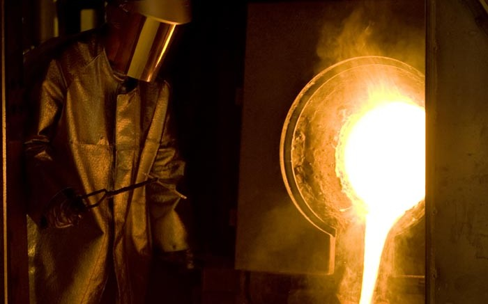 A gold pour at Goldcorp's  Porcupine project in Timmins, Ontario. Source: Goldcorp