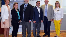 At the announcement event for the mental health in mining research project in Sudbury, from left: France Glinas, MPP for Nickel Belt; Jody Kuzenko,director of Vale's Ontario production services; Leo Gerard, international president of the United Steelworkers; Michel Larivire, clinical psychologist and associate director at CROSH; Kevin Daniel Flynn, Ontario Minister of Labour; and Tammy Eger, research chair in occupational health and safety.  Source: Laurentian University
