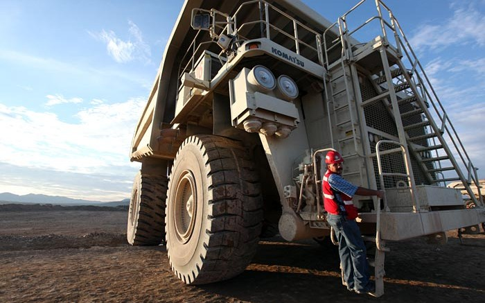 An employee climbs into a mining truck at Goldcorp's Peasquito polymetallic mine in Mexico. Source: Goldcorp