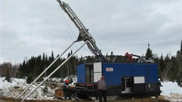 Drillers in 2014 at Thundermin Resources and Rambler Metals & Mining's Little Deer copper project in Newfoundland. Credit: Thundermin Resources