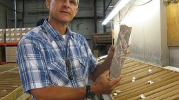 Mac Jackson, Gold Standard Ventures' vice-president of exploration, shows off a core sample from the Railroad gold project in northern Nevada.  Photo by Alisha Hiyate