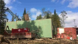 A drill rig, surrounded by sound walls, in the Central zone at Premier Gold Mines' Hasaga gold project in northwestern Ontario. Credit: Premier Gold Mines