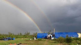 A double rainbow appears in the sky at Balmoral Resources' Detour Trend project in Quebec. Source: Balmoral Resources