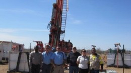 Posing by a drill rig at Khoemacau's Mango zone, from left: Khoemacau operations manager Mompati Babusi; Cupric Africa head of exploration John Deane; Cupric Africa CEO Sam Rasmussen; Cupric Canyon Capital director Stephen Enders; Cupric resource geologist Cathy Knight; Khoemacau country manager Johannes Tsimako.