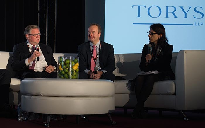 A panel discussion during the Energy and Mines conference in Toronto in late October, from left: Stephen Letwin, Iamgold's president and CEO; Paul West-Sells, Western Copper and Gold's president and COO; and Valerie Helbronner, partner with Torys LLP. Source: Energy and Mines