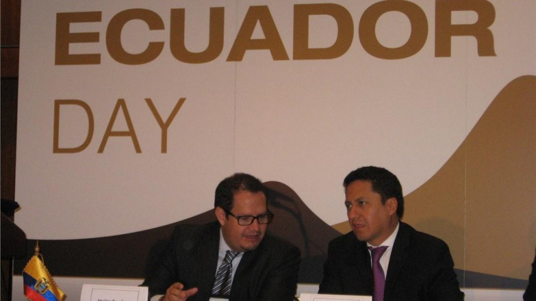 New Mines Minister Javier Cordova (left) with Coordinating Minister for Strategic Sectors Rafael Poveda during Ecuador Day at the Prospectors and Developers Association of Canada convention.