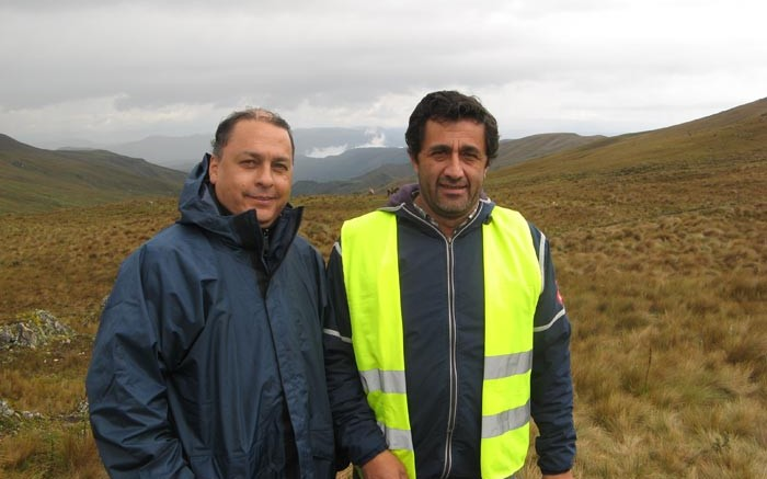 Fernando Carrion (left), social responsibility manager, and Vicente Jaramillo, environment, health and safety manager, at INV Metals' 3 million oz. Loma Larga gold project, near the city of Cuenca in southern Ecuador. Photo by Trish Saywell.