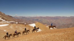 Barrick Gold geologists travelled by donkey during the early stages of exploration at the Alturas gold project in Chile.Credit:  Barrick Gold