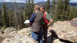 Otis Gold geologist Mitch Bernardi (left) reviewing drill plans with US Forest Service personnel at the Kilgore gold project, 50 km northeast of the town of Dubois, Idaho.Credit: Otis Gold