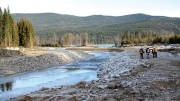 A stretch of Hazeltine Creek, with the outlet to Quesnel Lake in the background, where reclamation work has helped clean up the spilled tailings from Imperial Metals' Mount Polley mine in British Columbia. Credit: Imperial Metals