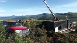 Drilling at Rockhaven Resources' Klaza gold-silver project, 50 km west of the town of Carmacks in the Yukon. Credit: Rockhaven Resources