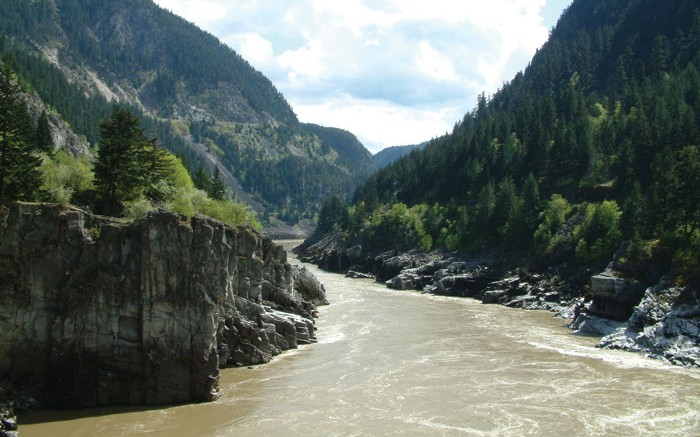 Water flows through Hell's Gate, a well-known narrowing in British Columbia's Fraser River. Photo by Jonathan Rodgers.