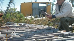 Moe Lavigne, KWG Resources' vice-president of exploration and development, inspects core in 2010 at the Big Daddy chromite deposit in Ontario. Credit: WG Resources