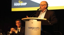 British Columbia's Minister of Energy & Mines Bill Bennett addresses attendees at the Mineral Exploration Roundup convention in Vancouver. Credit: AME BC