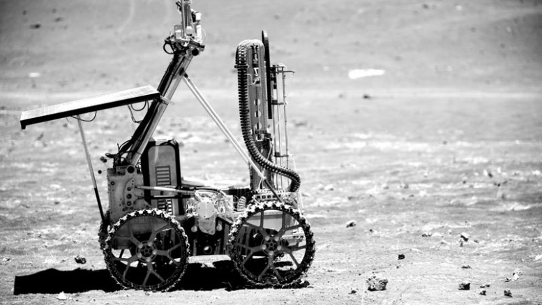 Deltion Innovations' drill on a rover during a 2012 deployment on the slopes of Mauna Kea in Hawaii.Photo by Joe Bibby