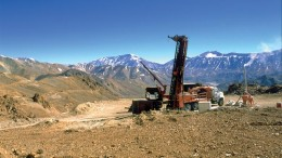 Drilling at the Veladero gold project in Argentina in 2008. Credit: Barrick Gold