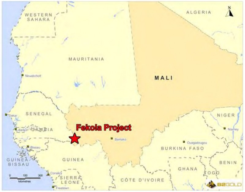 Fekola project location map. Credit: B2Gold