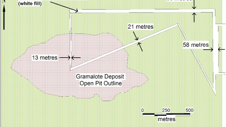 A map outlining Zonte Metals' claims near AngloGold Ashanti and B2Gold's Gramalote gold project, 80 km northwest of Medellin, Colombia. Zonte Metals