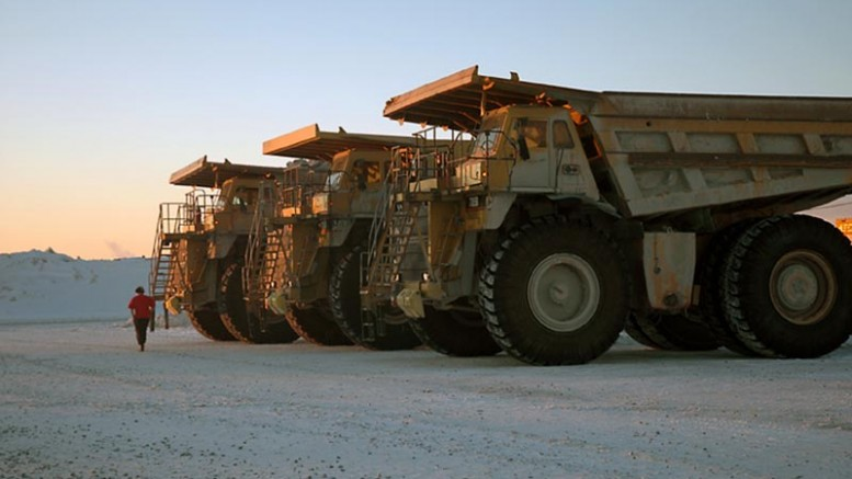 Mining trucks at Goldcorp's Porcupine project in Timmins, Ont. Credit: Goldcorp