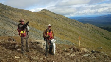 Geologist James Thom (left) and soil sampler Gordon Kirk at Banyan Gold's Hyland gold project in the Yukon. Banyan is using the Red Cloud Klondike Strike platform to raise $750,000.  Credit: Banyan Gold