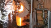 Pouring a doré bar at the San Francisco gold mine in Mexico in 2011.Credit: Timmins Gold