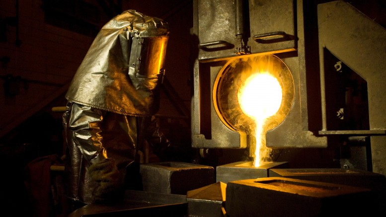 A Newmont employee pours gold in Nevada. Credit: Newmont Mining.