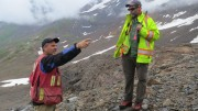 Colorado Resources president and CEO Adam Travis (left) and technical advisor Mike Cathro at the Inel area of the KSP gold property in northwest British Columbia. Credit: Colorado Resources