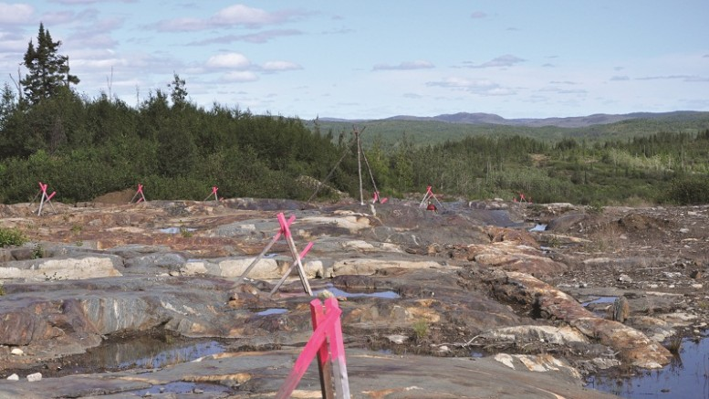 An outcrop at Eastmain Resources' Eau Claire gold deposit in Quebec, 200 km east of James Bay. Credit: Eastmain Resources