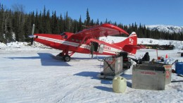 A small plane at Brazil Resources' Whistler project, 150 km northwest of Anchorage, Alaska. Credit: Brazil Resources.