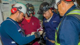 An underground safety and coordination meeting in Primero Mining's San Dimas gold-silver mine, 125 km northeast of Mazatlan, Mexico.  Credit: Primero Mining.